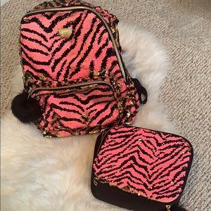Justice flip sequin hooded backpack & lunchbox